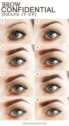 Brow Confidential / 8 Different Eyebrow Shapes Sometimes people don't realize how much they can really change the shape of their brows. Beauty Make-up, Beauty Hacks, Hair Beauty, Beauty Tips, Permanent Eyebrows, Permanent Makeup, Eyebrow Makeup, Skin Makeup, Eyebrow Grooming
