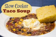 Slow cooker taco soup is a delicious and fast time saving recipe for cold fall and winter days. Cook the meat ahead of time, throw all the ingredients in the slow cooker and you're ready to go! Add a delicious cornbread and you have a complete meal your family will love!