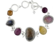 Artisan Gem Collection Of India, Mixed Color Sapphires Sterling Silver Bracelet