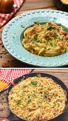 Healthy Pasta Recipes, Healthy Pastas, Vegetarian Recipes Easy, Quick Easy Dinner, Quick Dinner Recipes, Quick Easy Meals, Chicken Pasta Dishes, Breakfast Sushi, Bacon Food