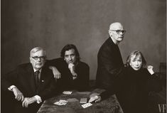 FAMILY PORTRAIT Writer Dominick Dunne, his son Griffin Dunne, his brother John Gregory Dunne, and Joan Didion, photo by Annie Leibovitz for Vanity Fair, January 2002.