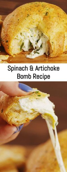 This Spinach & Artichoke Bomb is the appetizer that will impress all of your friends. Artichoke Recipes, Spinach Artichoke Dip, Spinach Recipes, Healthy Eating Tips, Clean Eating Snacks, Cooking Sheet, Bombe Recipe, Mediterranean Dishes, Big Meals