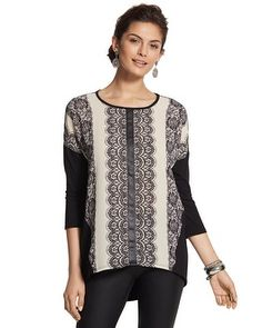 #chicossweeps.  Luxe lace printed front panel with silky soft woven feel combines with stretch knit 3/4 sleeves and back with flattering high-low hemline.