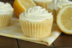 lemon cupcakes with lemon mousse icing