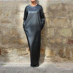 Black Leather Dress Long Sleeve Dress Eco Leather Dress | Etsy Black Leather Dresses, Faux Leather Dress, Dress Black, Black Kaftan, Leather Jacket, Lace Evening Dresses, Elegant Dresses, Nice Dresses, Maxi Dresses