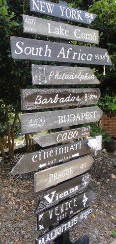 Customized Directional Sign in the yard of all the places / states / Townes we have either visited or lived in