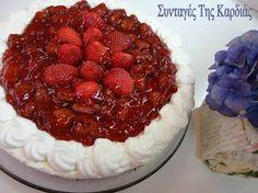 Cheesecake με γιαούρτι και ανθότυρο - Cheesecake with yogurt and ricotta Greek Sweets, Desert Recipes, Raspberry, Sweet Treats, Cheesecake, Deserts, Food And Drink, Pie, Fruit