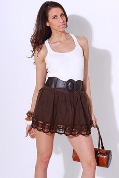 1015store.com-chocolate brown embroidered summer skirt-$15.00