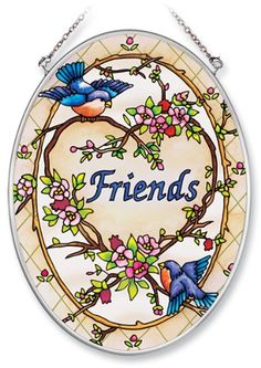 Amia Hand Painted Glass Suncatcher with Friends Songbird Design 514Inch by 7Inch Oval *** Check this awesome product by going to the link at the image.(This is an Amazon affiliate link and I receive a commission for the sales)