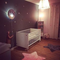 Here's the result from room styling and can we just say 'wie shön… Baby room – Home Decoration Baby Room Boy, Baby Bedroom, Baby Room Decor, Girl Room, Kids Bedroom, Baby Room Ideas For Boys, Moon Nursery, Nursery Room, Galaxy Nursery