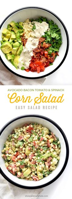 EASY! Avocado Bacon Tomato Spinach Corn Salad Recipe | @wearsmanyhats Tomato Salad, Spinach Avacado Salad, Bacon Avacado, Bacon Salad, Avocado Art, Pasta Salad, Soup And Salad, Couscous Salad, Tomato Basil