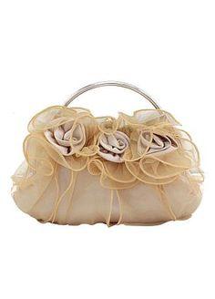 Beautiful Beige Silk with lace Evening Bag Handbag Purse Clutch