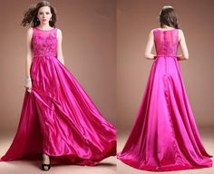 Fuchsia Long Satin Lace Beaded Cap Sleeves Prom Dresses,A-Line prom dress,Sexy dress