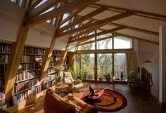 superb modern attic turned library