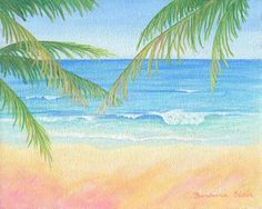 "Beach painting: ""Beach Palms"".  Open edition giclee prints available in two sizes on paper or canvas, starting at $35.00. Original 8""x10"" painting also available. © 2012 Barbara Blair. See more of my art at BarbaraBlairArt.com"