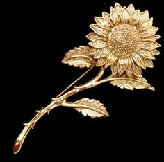 Vintage 1928 Sunflower Brooch Large Flower Gold Tone Pin Women's Estate | eBay
