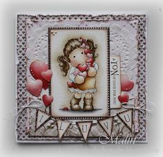 Tilda with hearts card, Magnolia stamps - Tilda