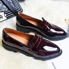0bd5ffccc Black   Red Vintage Pointy Toe Comfy Flat Loafers for Women