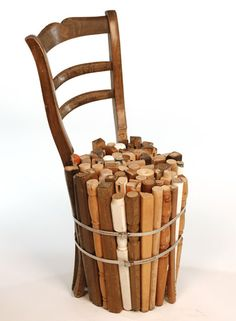 Recycled furniture leg chair