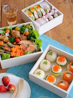 Lunch Box Recipe : Temarizushi (Ball Sushi) / Tamagoyaki (Japanese ...