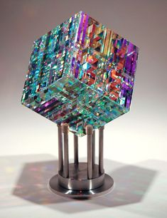 Chroma Cube by Jack Storms….I love Jack Storms' work! Chroma Cube by Jack Storms….I love Jack Storms' work! Broken Glass Art, Sea Glass Art, Stained Glass Art, Fused Glass, Dichroic Glass, Blown Glass, Verre Design, Glass Art Design, Jack Storms Glass