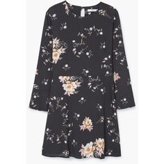 MANGO Floral-Print Flowy Dress (195 BRL) ❤ liked on Polyvore featuring dresses, charcoal, charcoal dress, lining dress, 3/4 sleeve dress, mango dresses and floral pattern dress