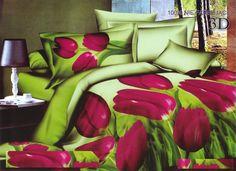 Pościele zielone z mikrwłókna na łóżko do sypialni w różowe tulipany