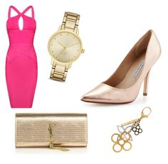 """Pink and Gold"" by sadsmith ❤ liked on Polyvore featuring Posh Girl, Yves Saint Laurent, Charles David, Kate Spade and Louis Vuitton"