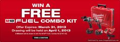 USA only Sweepstakes ~ Win 1 Of 5 M18 Fuel Combo Kits  http://www.linkiescontestlinkies.com/2013/03/sweepstakes-win-1-of-5-m18-fuel-combo.html