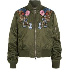 Alexander McQueen Embellished embroidered shell bomber jacket ($3,610) ❤ liked on Polyvore featuring outerwear, jackets, bomber, tops, alexander mcqueen, flight jacket, embroidery jackets, embroidered bomber jacket and jersey jacket