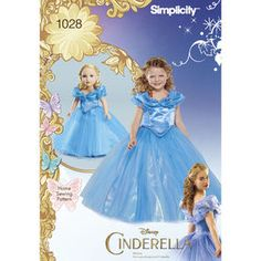 """Simplicity Pattern 1028 Disney Cinderella Costume for Child and 18"""" Doll"""