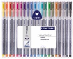 Staedtler Triplus Fineliners come in sets of 4, 6, 10, and 20. These vibrantly colored, highly- pigmented pens can be left uncapped for days and won't dry out ....