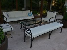Muebles de terraza en fierro forjado Pvc Pipe Furniture, Iron Furniture, Steel Furniture, Garden Furniture, Furniture Design, Outdoor Furniture, Tableau Design, Outdoor Sofa, Outdoor Decor