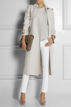 Light grey trench coat from Bottega Veneta #cashmere - looks perfect on, especially when combined with white cotton trousers and a co-ordinating grey cashmere jumper...x