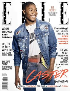 Cover girl: The glamorous cover picture shows Caster as fans have rarely seen her before, wearing a faded denim jacket and sports shirt which reveals a glimpse of her toned stomach Cool Magazine, Elle Magazine, Elle Travel, Editorial Photography, Fashion Photography, Photography Magazine, Caster Semenya, Magazine Cover Design, Magazine Covers
