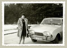 """https://flic.kr/p/kWy8BZ   Ford Taunus 17M   A young lady dressed in the fashion of the early sixties posing with a German-built Ford on a snow-covered road. The words """"Winter 63/64"""" are handwritten on reverse. The car is registered in West Berlin.  Country of origin: Germany"""