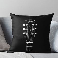 'Old Gibson Les Paul Guitar Head - Rock- Music-Blues' Throw Pillow by carlosafmarques Boy Music, Music Guitar, Guitar Logo, Guitar Tattoo, Music Themed Rooms, Music Bedroom, Music Inspired Bedroom, Guitar Bedroom, Best Guitar Players
