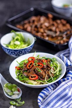 Chinese Pulled Beef cooked in the crockpot & served with courgette (zucchini) noodles.