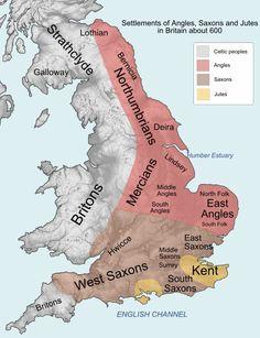 Las Islas Británicas a finales del siglo VI, con los britones ya derrotados, arrinconados contra sus últimos bastiones del oeste.