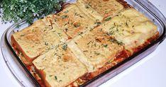 Szybka, smaczna zapiekanka tostowa z mięsem mielonym drobiowym.  Po upieczeniu pięknie się kroi na równe kawałki. Dodatkowo można podać pola... Lasagna, Quiche, Food And Drink, Appetizers, Pizza, Cheese, Cooking, Breakfast, Ethnic Recipes