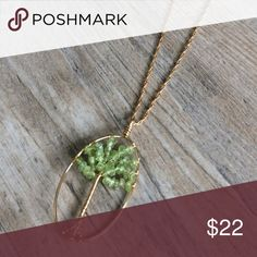 """OJDC Genuine Aventurine Necklace Genuine aventurine set in the beautiful """"tree of life"""" design.  Made from hypoallergenic, lead and nickel free alloy (brass) in gold-tone.  This design brings a boho chic style to the minimalist. OJDC Jewelry"""