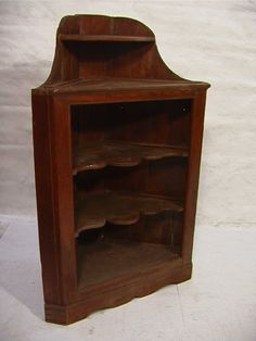 Early Antique American Pine Corner Cupboard with
