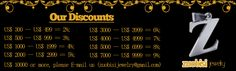 Payment & Discounts what discounts of the total amount could you get from ZuoBiSiJewelry.com? We won't say our discounts is the best from China Stainless Steel Jewelry Wholesalers, but we are sure that it is Better than most other fashion stainless steel jewelry suppliers from China and unit price for all of our fashion jewellery is very competitive. Facts speak louder than words; please refer to our following discounts levels.