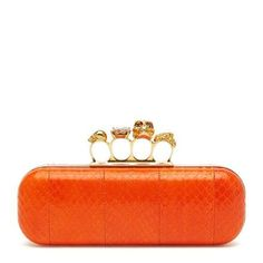 39578ee211d7c Get the trendiest Clutch of the season! The Alexander McQueen Knuckle Box  Orange Snakeskin Clutch is a top 10 member favorite on Tradesy.