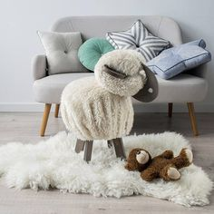 Bernard the sheep is not just a chair - its a real friend to play with. under his furs youll find a pillow to sit on, a plate that turns him into the table. you can store some small secrets and pencils into this plate, or in pockets on his pants! maybe, youd like to play PSP or