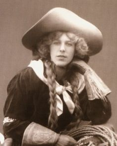 Tillie Baldwin (1888-1958), born Anna Mathilda Winger, was an early cowgirl and buckaroo in the United States. She is credited as the first woman bulldogger for her appearance in 1913 as a bronc rider and racer. She was also a trick rider and relay racer. She credited Will Rogers for giving her the opportunity to become famous. Later in life she ran a riding academy and became Mrs. Willis C. Slate.....from the National Cowgirl Museum and Hall of Fame