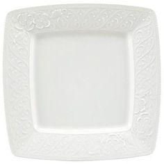 """Nikko Ceramics Blanc Fleur 9"""" Square Accent Plate"""