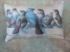 Blue Birds Pillow of them drinking from a bowl from by Maisonvogue, $15.00