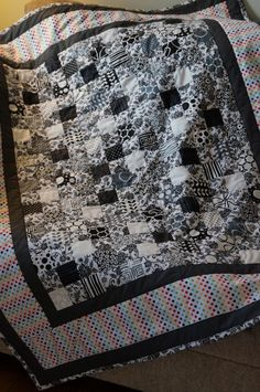 Rainbow Black and White Quilt ~ Moda, Shades of Black, Polka Dot, Quilt, Blanket, Blankie, Kids Quilt, Black and White