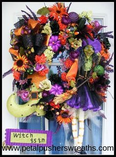 Adorable Halloween Wreath--Witch Wreath by Petal Pusher's Wreaths & Designs.    #cute #halloween decorations